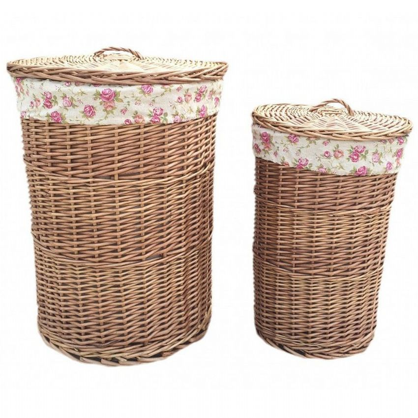 Cotswolds Lined Willow Wicker Laundry Bin Baskets Pair Vintage H 60 x W 46cm